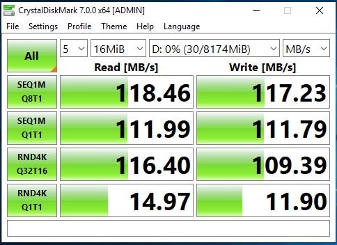 Single 1G NIC CrystalDiskMark Speed Test
