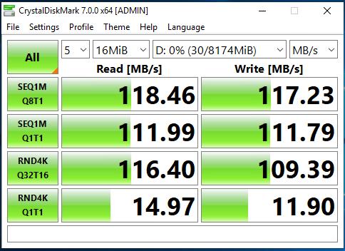 Single 1G NIC CrystalDiskMark Speed Test