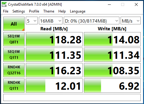 Active-Backup (Two 1G NICs) CrystalDiskMark Speed Test