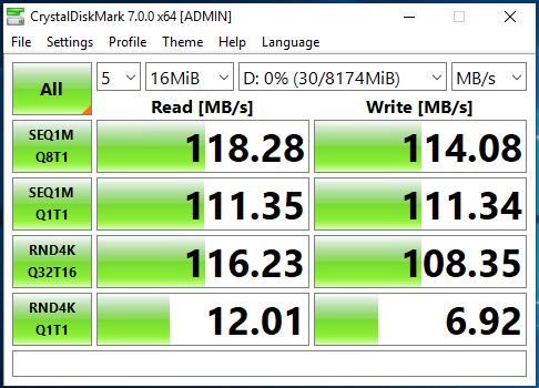 Active-Backup (Two 1G NICs) CrystalDiskMark Speed Test